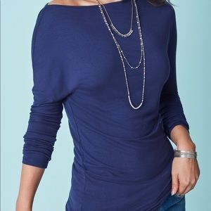 Stella & Dot Ren Slouchy Knit Top, Navy, Large